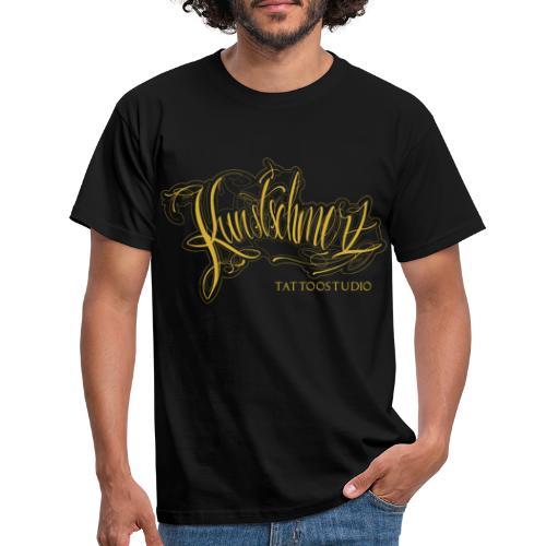 Kunstschmerz Logo Schrift gold - Männer T-Shirt