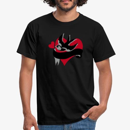 retro tattoo bird with heart - Men's T-Shirt