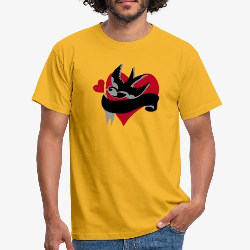 retro tattoo bird with heart - Men's T-Shirt