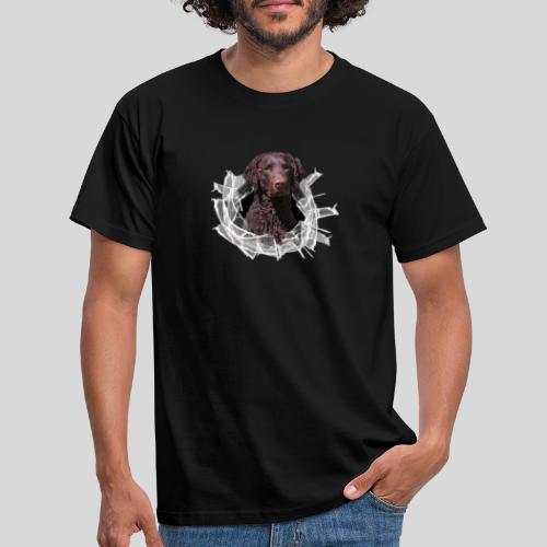 Curly Coated Liver im Glasloch - Männer T-Shirt