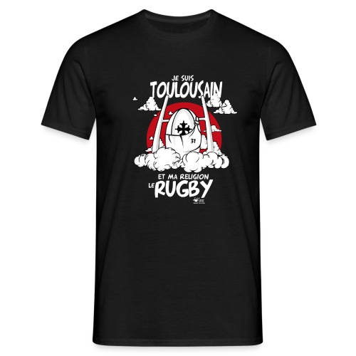 religion rugby noir png - T-shirt Homme