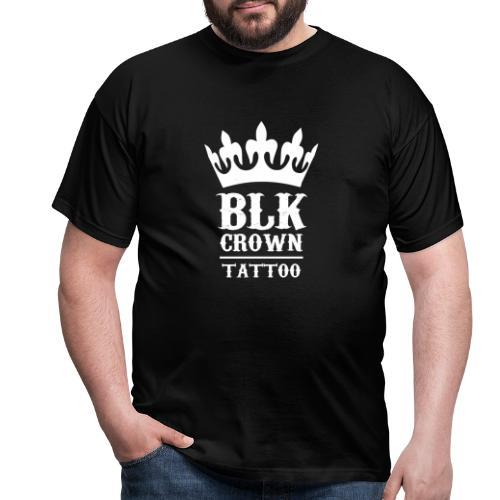 Black Crown Tattoo Studio Logo Weiss - Männer T-Shirt