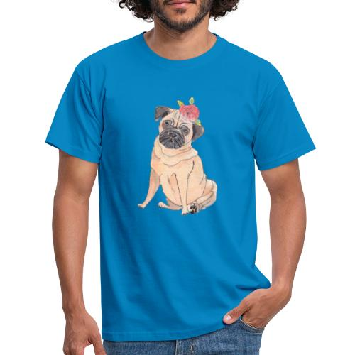 Pug with flower - Herre-T-shirt
