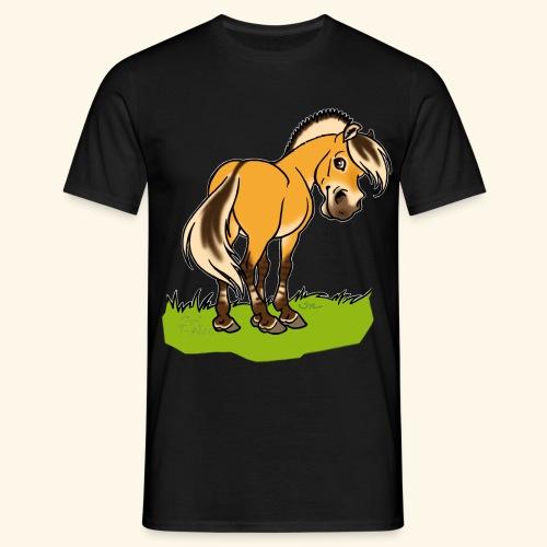 Freundliches Fjordpferd (Ohne Text) Weisse Umrisse - T-shirt Homme