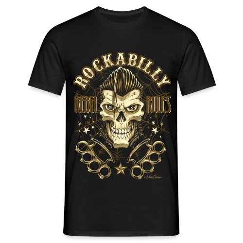 skull rebel rules ubido old - Camiseta hombre