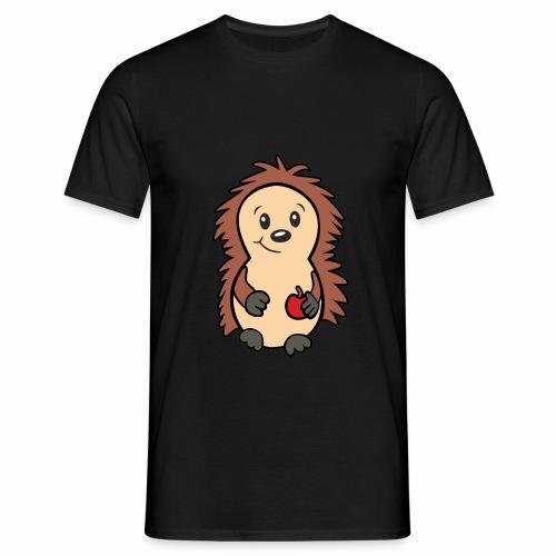 Igel mit Apfel in der Hand - Männer T-Shirt