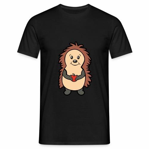 Igel mit Apfel in den Händen - Männer T-Shirt