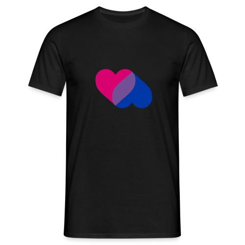 Bisexual Double Heart - Men's T-Shirt