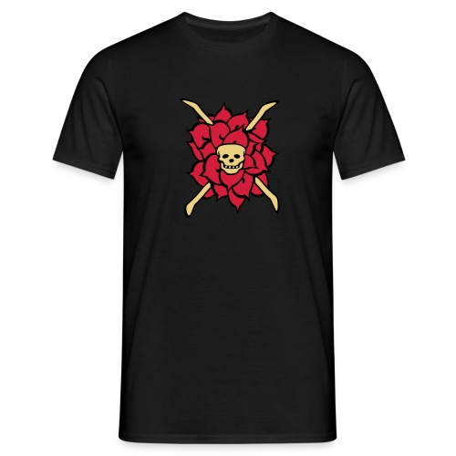 rose skull, tattoo style - Männer T-Shirt