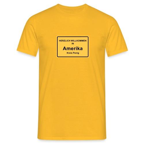 Ortsschild Amerika - Männer T-Shirt