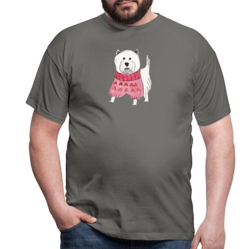 westie with sweater - Herre-T-shirt
