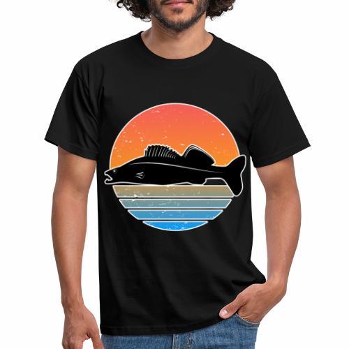 Retro Zander Angeln Fisch Wurm Raubfisch Shirt - Männer T-Shirt