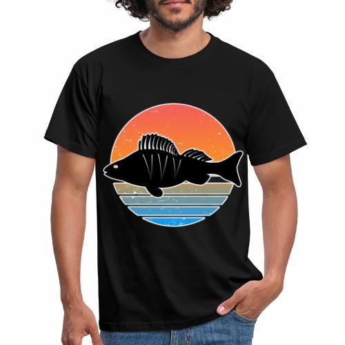 Retro Barsch Angeln Fisch Wurm Raubfisch Shirt - Männer T-Shirt