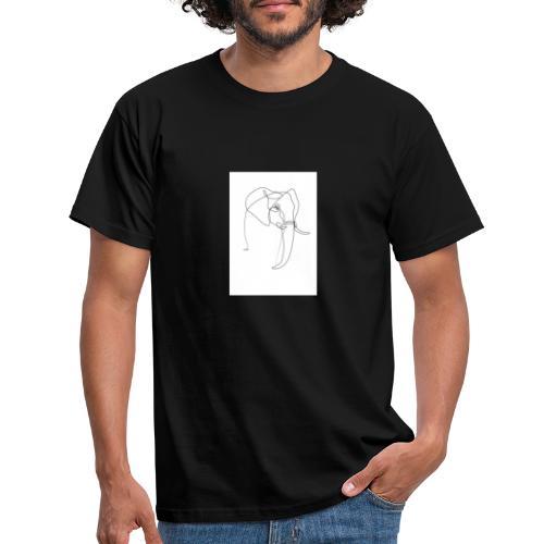 ONE LINE ELEPHANT - Herre-T-shirt