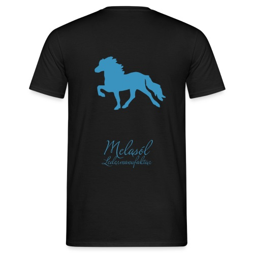 Großer Tölter & Melasól Schriftzug blau auf Rücken - Männer T-Shirt