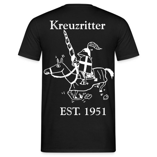 Kreuzritter Logo mit Schrift - Männer T-Shirt