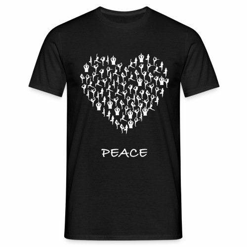 Peace Yoga Heart With Tiny Yoga Poses Meditation - T-skjorte for menn