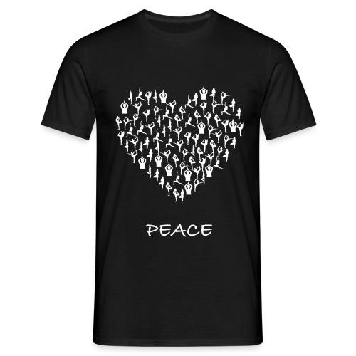 Peace Yoga Heart With Tiny Yoga Poses Meditation - T-skjorte for menn