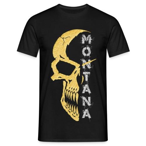Motiv T Shirt Skull 1 Gold Montana - Männer T-Shirt
