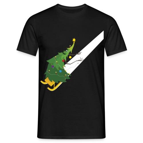 Weihnachtsbaum Schlittenfahrt - Männer T-Shirt