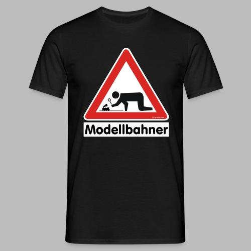 Warnschild Modellbahner Dampflok - Männer T-Shirt
