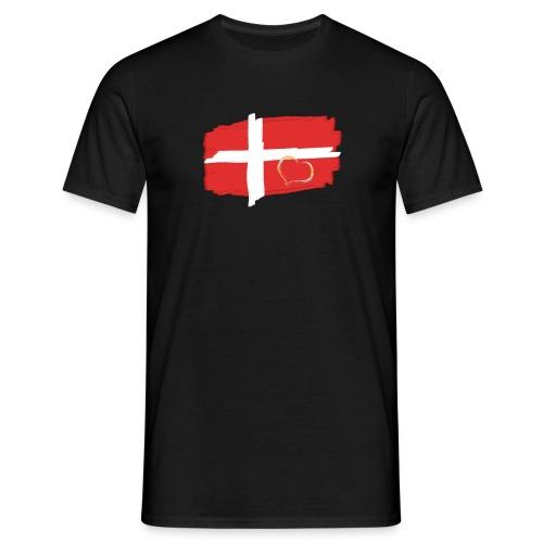 Dänemark Fahne mit Herz Flagge Land Nation - Männer T-Shirt