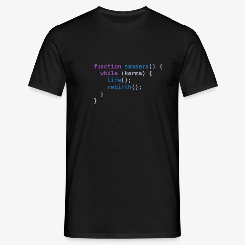 Funny T-Shirt: Samsara in JavaScript Programmer - Men's T-Shirt