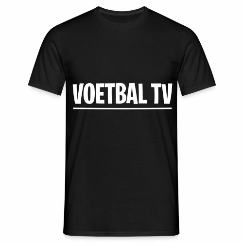 voetbal tv shirt tekst wit 2 - Mannen T-shirt