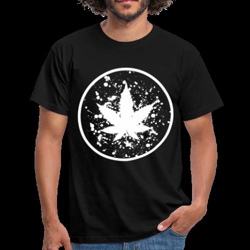 Cannabisblatt Farbklecks im Kreis - Männer T-Shirt