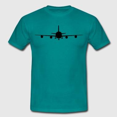 flugzeug silhouette landung fahrwerk abheben  - Männer T-Shirt