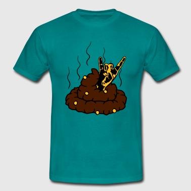 horns heavy metal hårdrock musik part handzeichen  - T-shirt herr