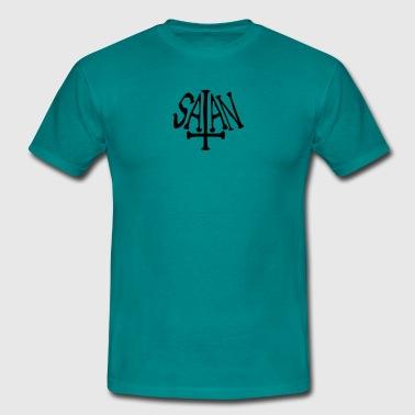 szatan tekst krzyż zła logo - Koszulka męska