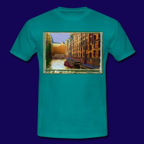 Hamburg Speicherstadt als Künstler-Impression - Männer T-Shirt