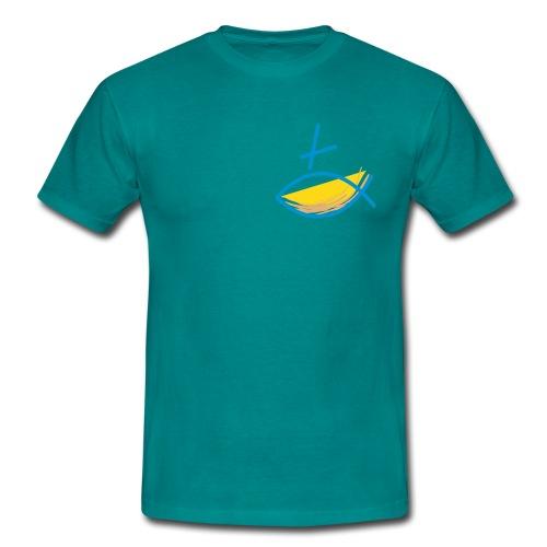 Altkatholischer Logo Fisch Blau/Gelb - Männer T-Shirt