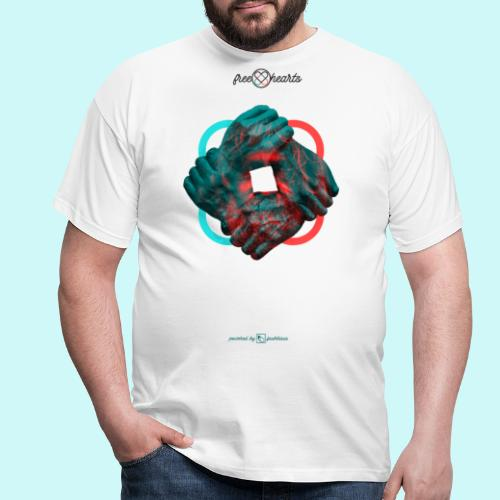 four hands for free hearts without scripture - Männer T-Shirt
