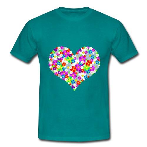 Blumenherz - Männer T-Shirt