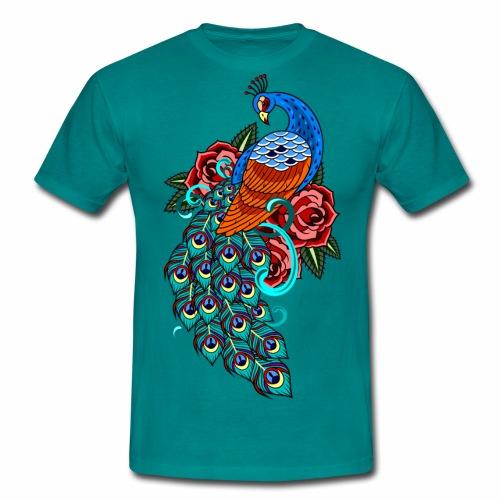 Farverig påfugl - Herre-T-shirt