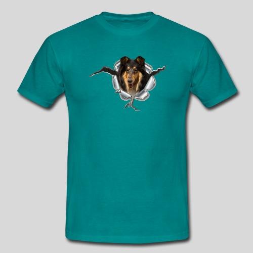Collie Blue Merle im Metall-Loch - Männer T-Shirt