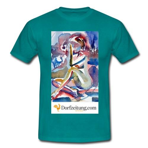 Reinhard Sampl - Aquarell Frauenakt sitzend - Männer T-Shirt
