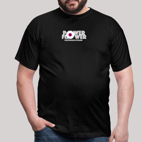 Logo PowerFlower bianco e fuxia - Maglietta da uomo