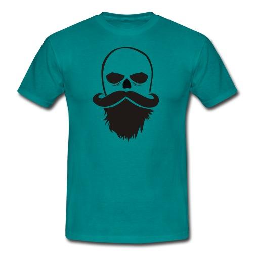 Bartträger Motiv, Scull mit Mustache, Bart-Shirt - Männer T-Shirt