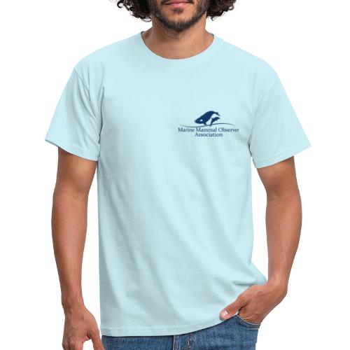 MMOA Logo Blue Marine Mammal Observer on back - Men's T-Shirt