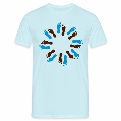 Barfuß-Kreis blau-braun - Männer T-Shirt