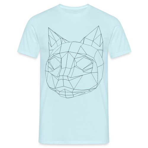 CAT wireframe black low poly - Camiseta hombre