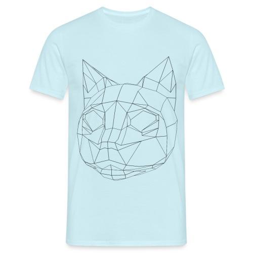 CAT wireframe black low poly - Camiseta hombre