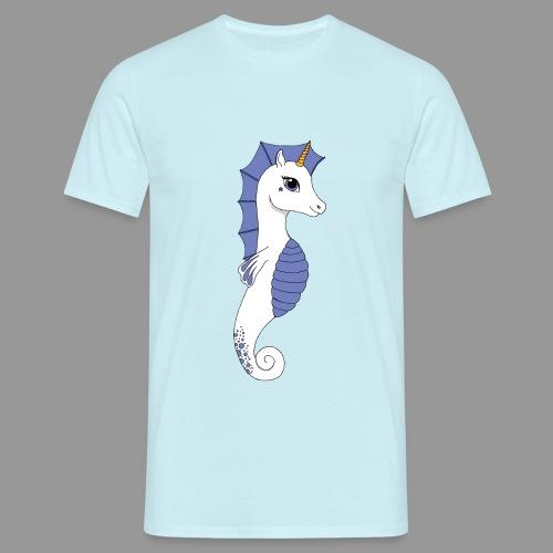 Seepferdeinhorn weiss blau - Männer T-Shirt