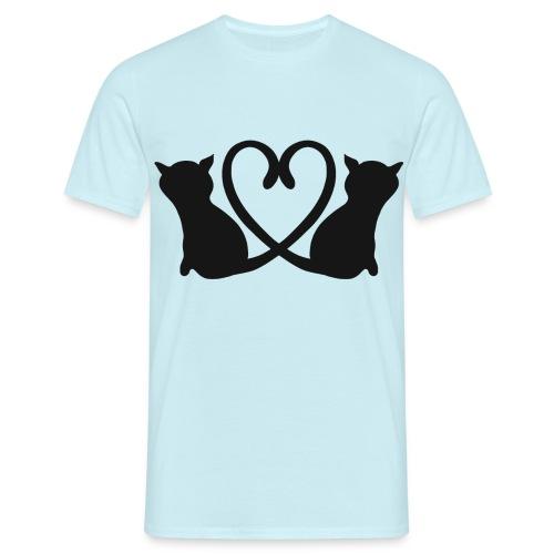 Katzen bilden ein Herz mit ihren Schwänzen - Männer T-Shirt