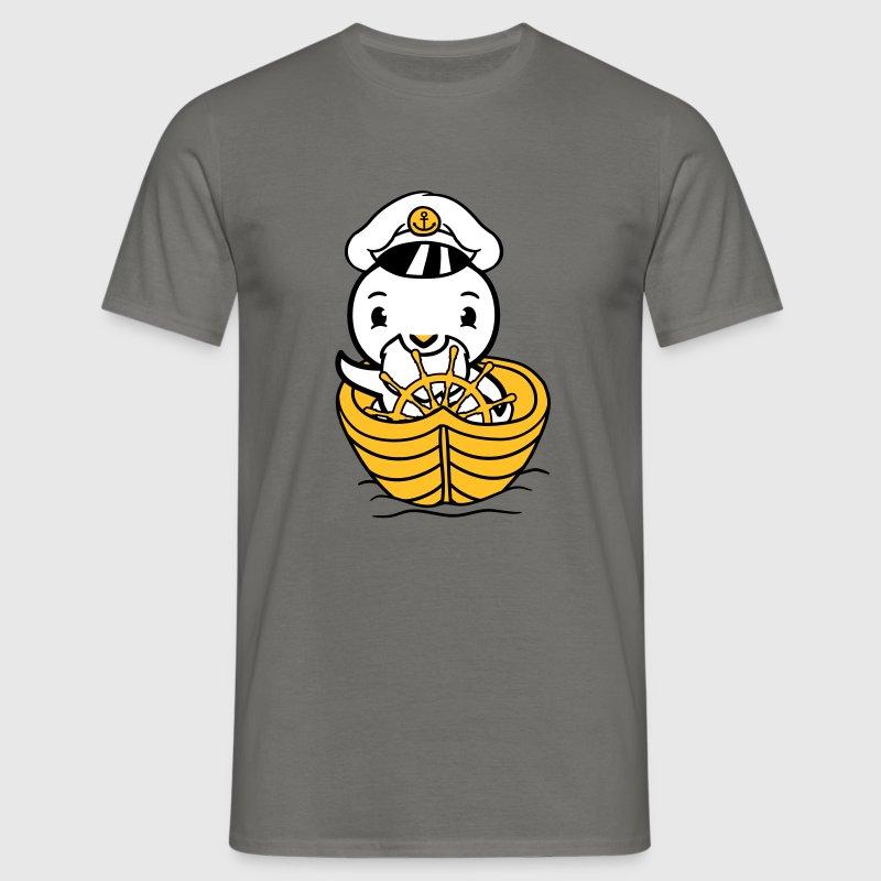 kaptein, båt, skip seegeln sjømann sjømann sjøvann - T-skjorte for menn
