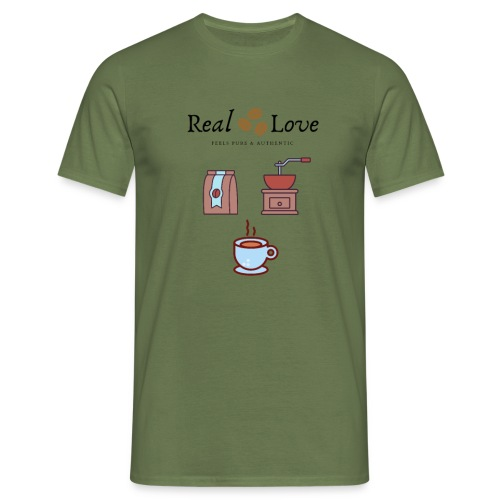 Coffee is Real Love, Pure And Authentic - T-shirt herr