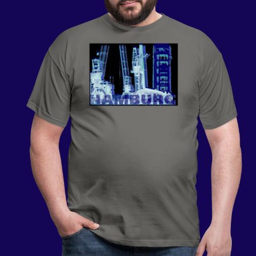 Hamburger Hafen im künstlerischen Siebdruckstil - Männer T-Shirt